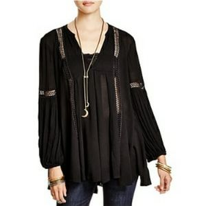 Free People Just The Two Of Us Black Peasant Top